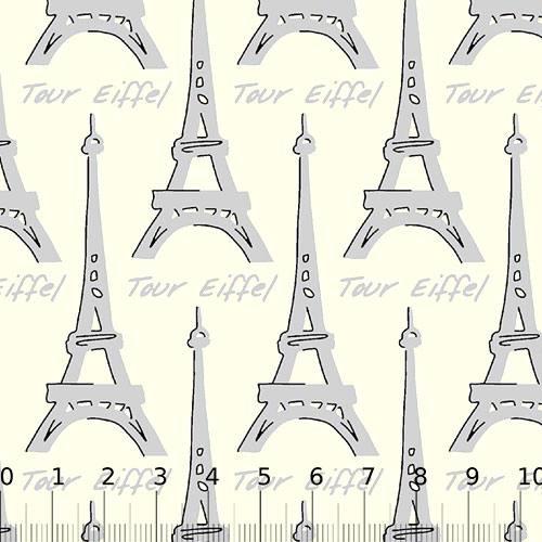 Tecido Tricoline Paris Tour - Eiffel Cinza