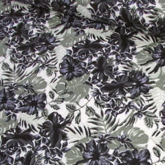 Tecido Tricoline Floral Jardim de Hibisco - Preto