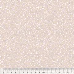 Tricoline Floral - Raminhos Fundo Bege c/ Branco (Largura: 1,50 m)