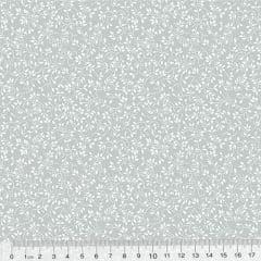 Tricoline Floral - Raminhos Fundo Cinza c/ Branco (Largura: 1,50 m)