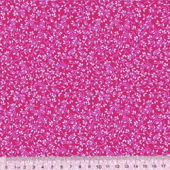 Tricoline Floral - Raminhos Fundo Rosa Pink c/ Branco (Largura: 1,50 m)