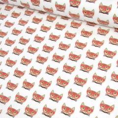 Tecido Tricoline Raposas de Óculos Laranja