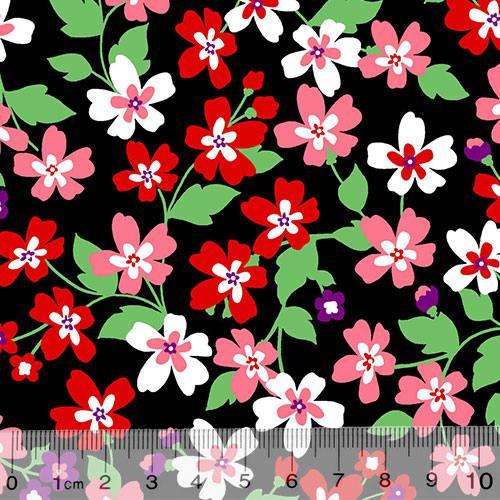 Tecido Tricoline Alg. Floral - Catarina - Preto