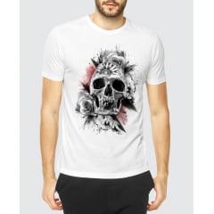 camiseta skull flowers