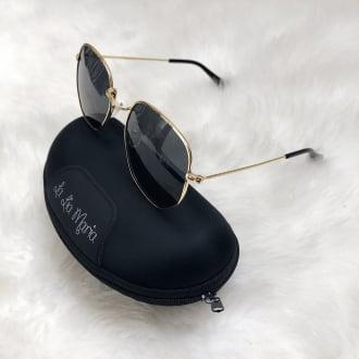 Oculos de Sol Feminino Hexagonal Fume Dourado