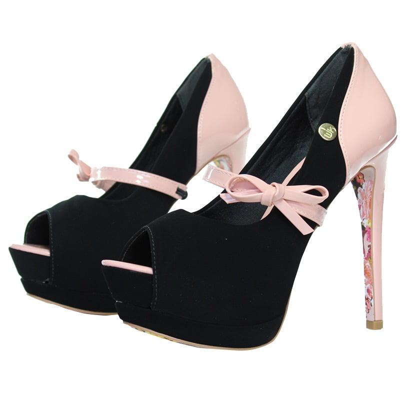 3787aad5e Peep Toe Salto Alto Laço Rosé/Preto - Week Shoes: Vale a pena?