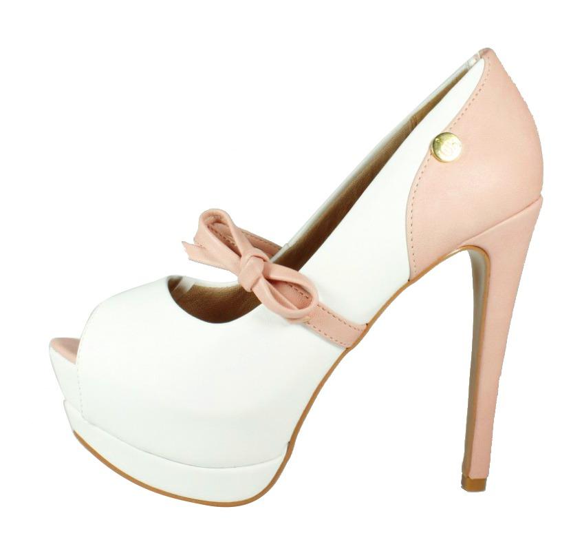 fd1fa4a8b Peep Toe Salto Alto Laço Rosé/Branco - Week Shoes: Vale a pena?