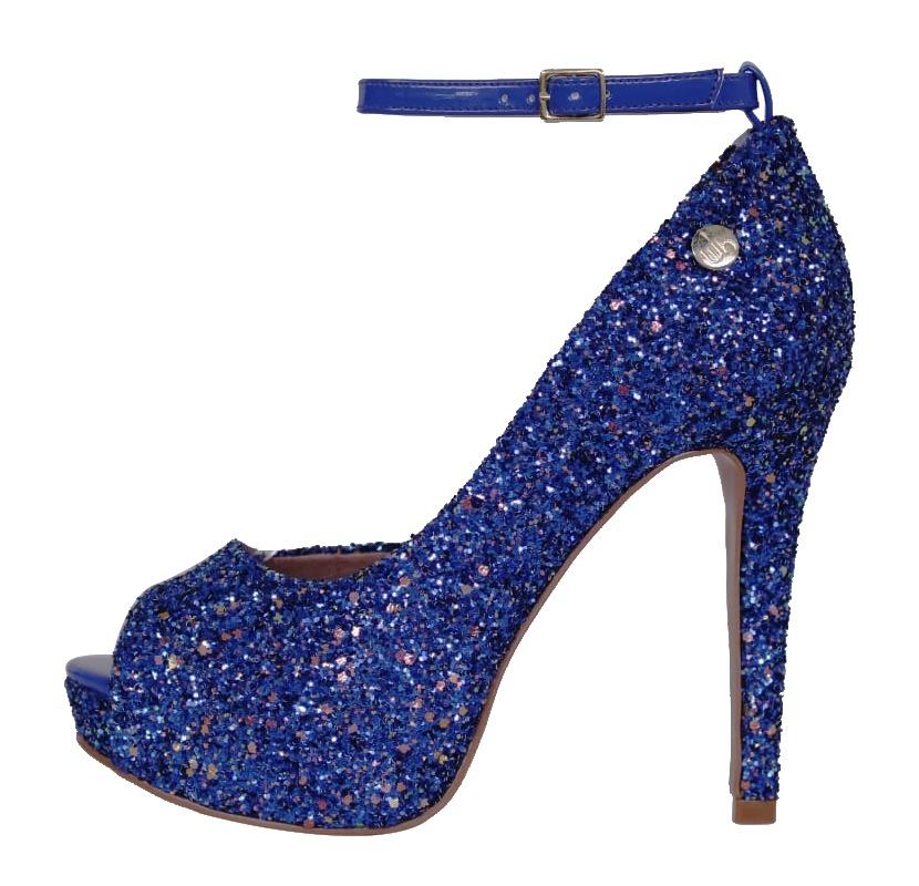 06379e57b Peep Toe Meia Pata Glitter Azul | Linha Festa | Glamour | Entrega ...