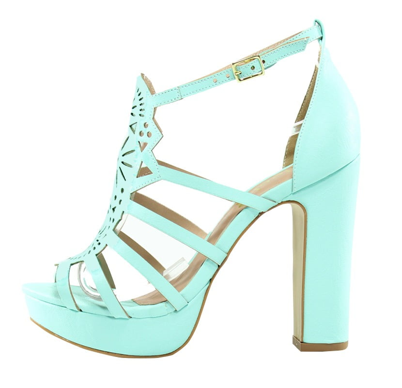 cdb74433a Sandália Corte Laser Azul Tiffany - Week Shoes: Parcelamento em até ...