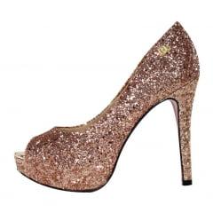 Peep Toe Meia Pata Glitter Bronze