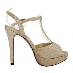 Sandália Salto Fino Glitter Dourado