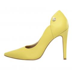 Scarpin Salto Alto Couro Amarelo Pastel