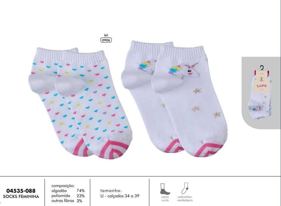 6c68fe637 Kit Meia Lupo 04535-088 Unicórnio e Estrelas Branco - Islen Calçados