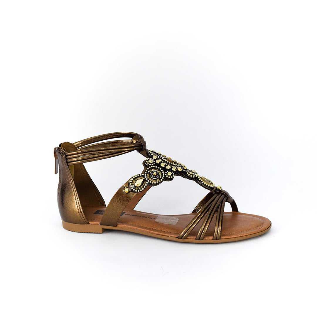 d55f512fe4 Sandália Dakota Z3653 Rasteirinha Groovy Bronze