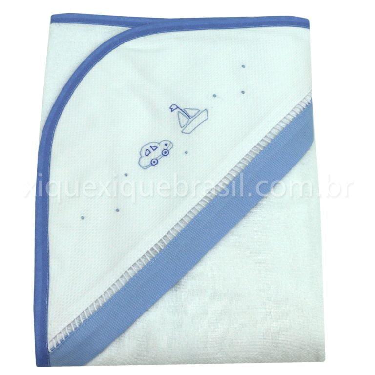 Toalha de Banho com Capuz Transportes Azul
