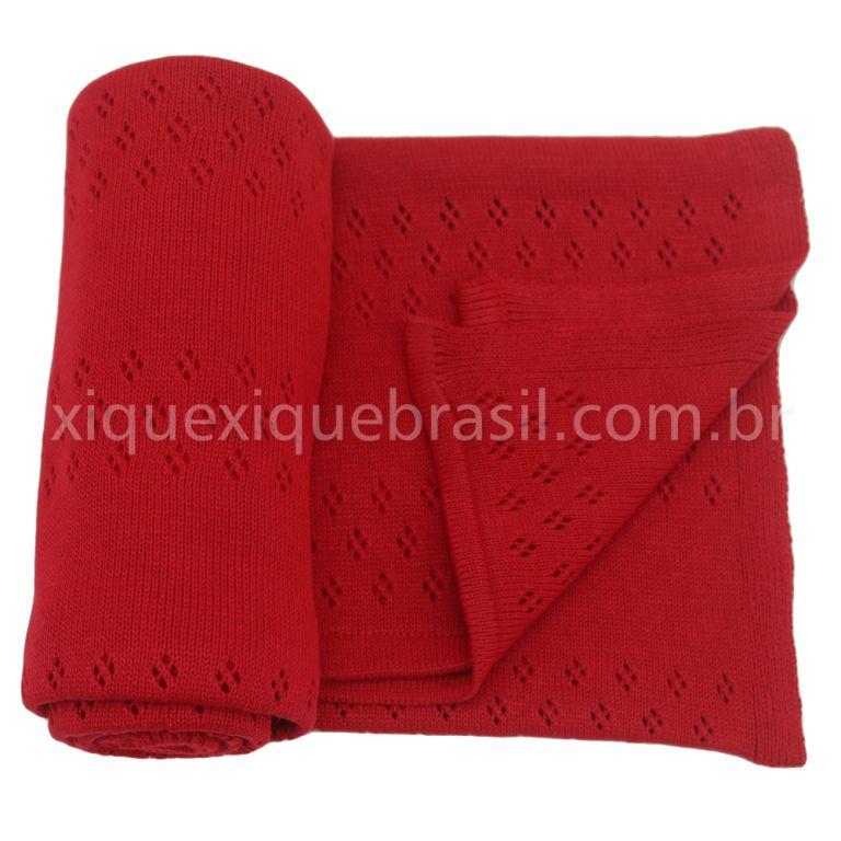 Manta Tricô Vermelha