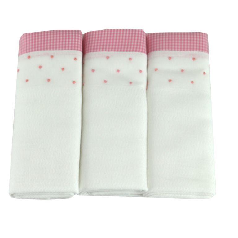 Fralda bordada poá rosa coleção (3 unid.)