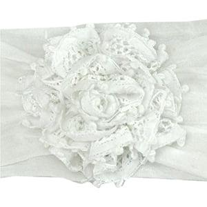Tiara Faixa de Cabeça Renda Renascença Flor Branca