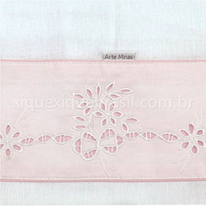 Toalha Fralda Margarida Bordado Richelieu Branco/Rosa