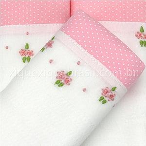 Fralda bordada duo floral rosa (3 unid.)