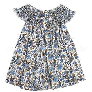 Vestido Casinha de Abelha Floral Azul - 9 a 12 meses