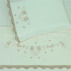 Jogo Lençol Renda Renascença Floral Bege (3 peças)