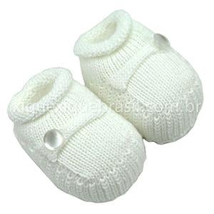 Sapatinho Bebê Tricô Branco Botão