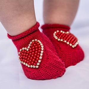 Sapatinho Bebê Tricô Vermelho Coração