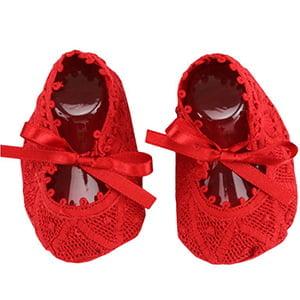 Sapatinho bebê Renda Renascença Vermelho