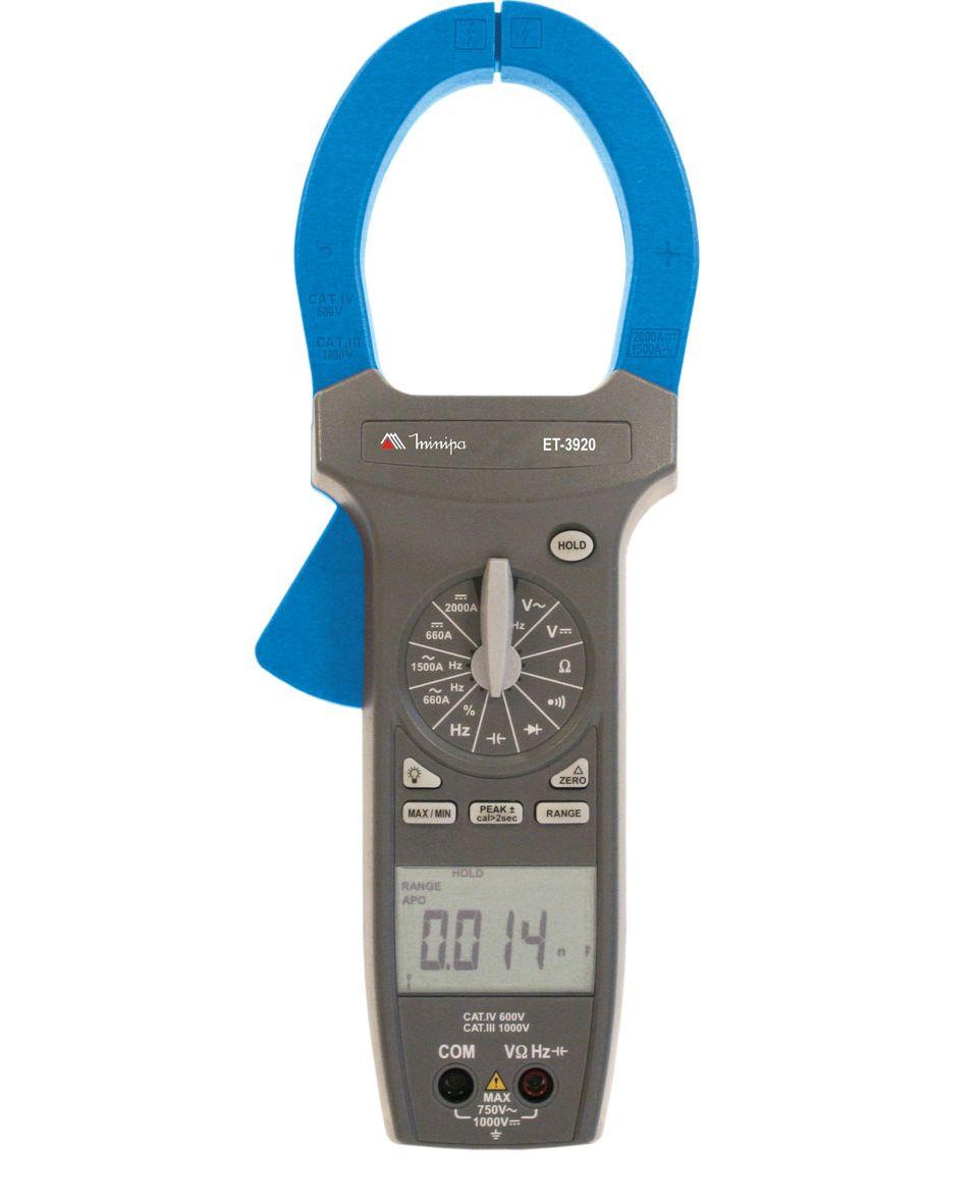 Alicate Amperímetro True RMS 1500ACA/ 2000A CC   CAT lV   Minipa  ET-3920