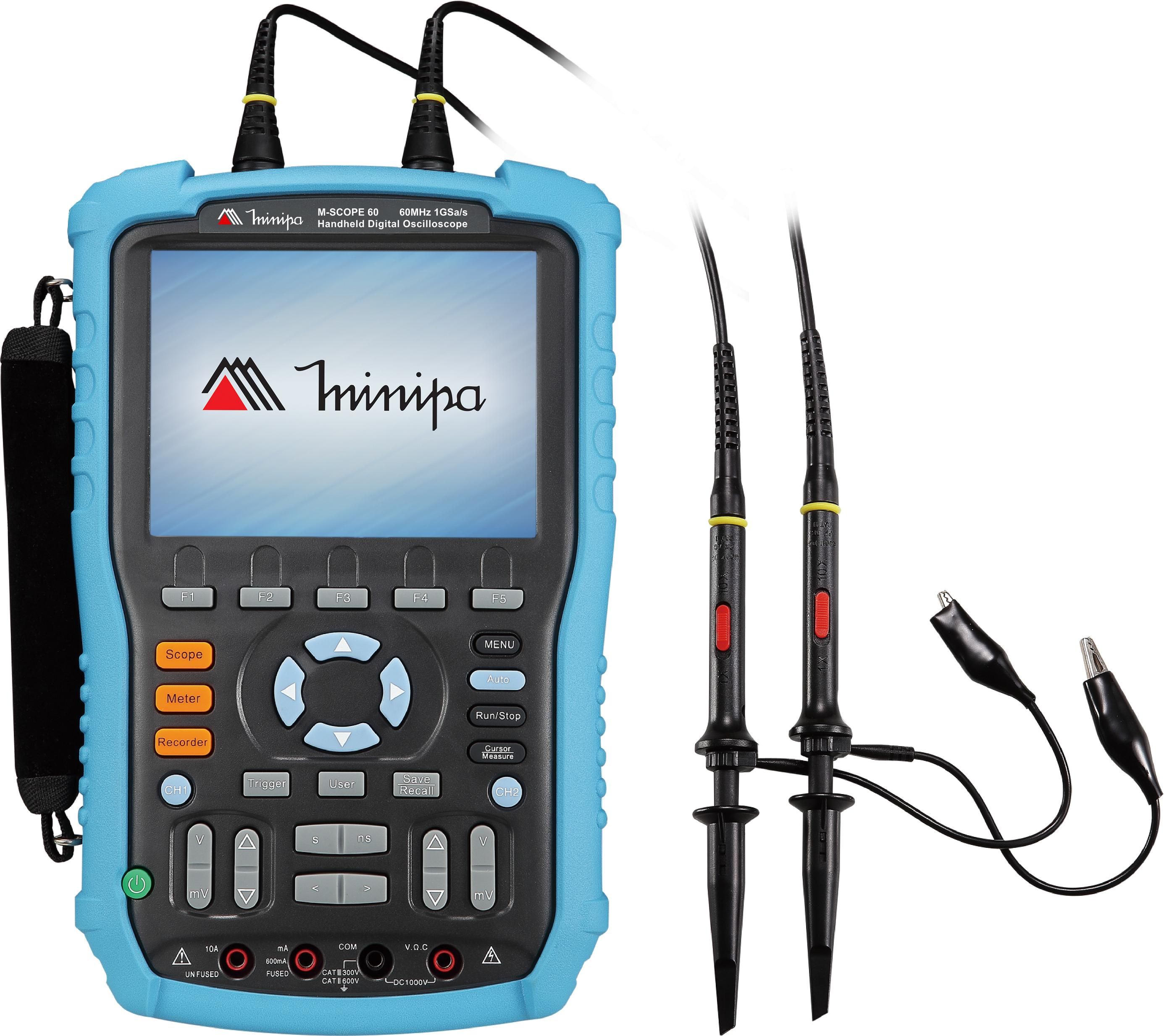 Osciloscópio/Multímetro Portátil 60MHz-2c-1GS/s-CAT III-USB - Minipa - MSCOPE-60