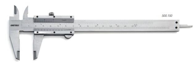 "Paquímetro de Aço Carbono Cromado Fosco  (150mm/6"" - 0,05mm/1/128"") - King Tools 500.150"