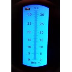 Refratômetro Açúcar, Sucos, Cervejas, Vinhos, Lubrificantes, Óleo Solúvel  (0-32% Brix) - RT-30ATC