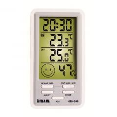 Termo-Higrômetro-Relógio Máx/Mín (Temp Int/Ext) - Hikari - HTH-240