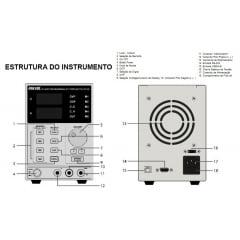 Fonte de Alimentação DC Assimétrica (32V/5A-simples) PROGRAMÁVEL - Hikari - HF-3205P