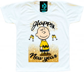 Camiseta Infantil Charlie Brown Happy New Year