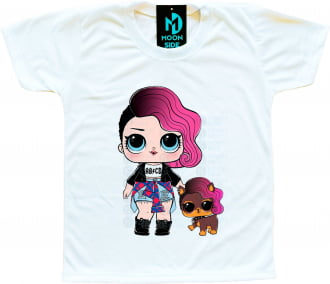 Camiseta Lol Surprise Rocker e Pet Ruff Rocker