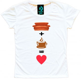 Camiseta Friends Sofá + Café = Love
