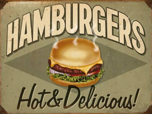 Placa Decorativa Vintage Retro Hamburgers PDV077