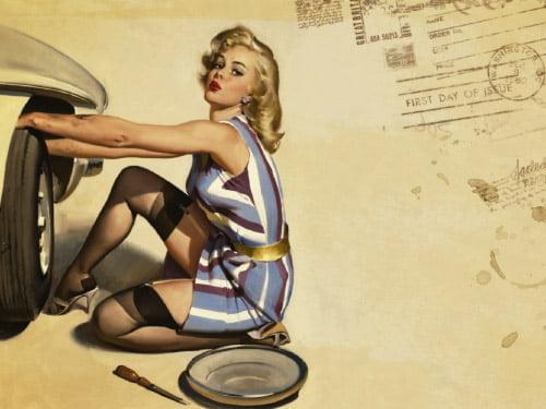 Placa Decorativa Vintage Retro Woman Tires PDV154