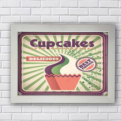 Quadro Vintage Cupcakes